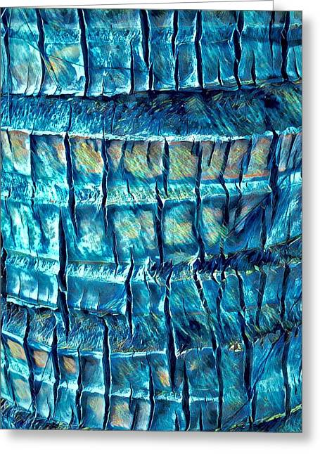 Greeting Card featuring the digital art Teal Palm Bark by Cindy Greenstein