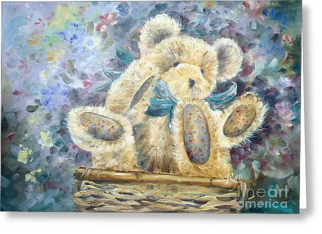 Teddy Bear In Basket Greeting Card