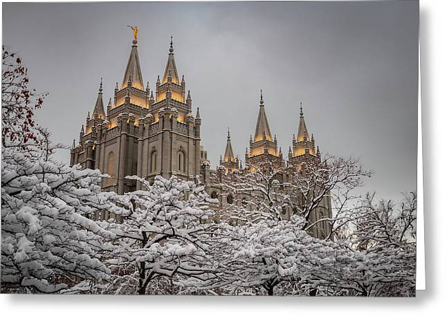 Temple In The Snow Greeting Card