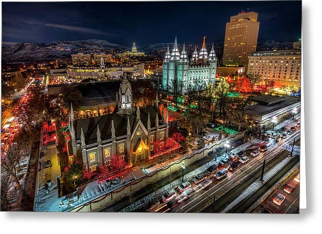 Temple Square Lights Greeting Card