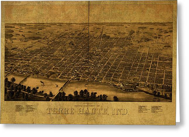 Terra Haute Indiana Vintage City Street Map 1890 Greeting Card
