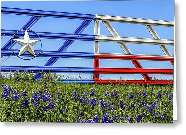 Texas Flag Painted Gate With Blue Bonnets Greeting Card