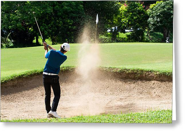 Thai Young Man Golf Player In Action Greeting Card