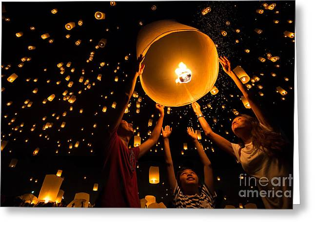 Thais Family Release Sky Lanterns To Greeting Card by Patrick Foto