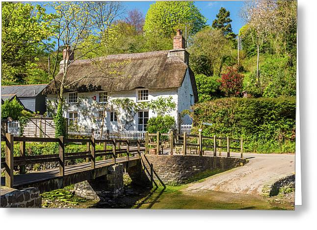 Thatched Cottage In Helford, Cornwall Greeting Card by David Ross