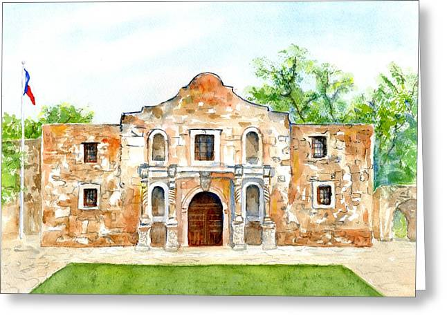 Greeting Card featuring the painting The Alamo Mission Texas by Carlin Blahnik CarlinArtWatercolor