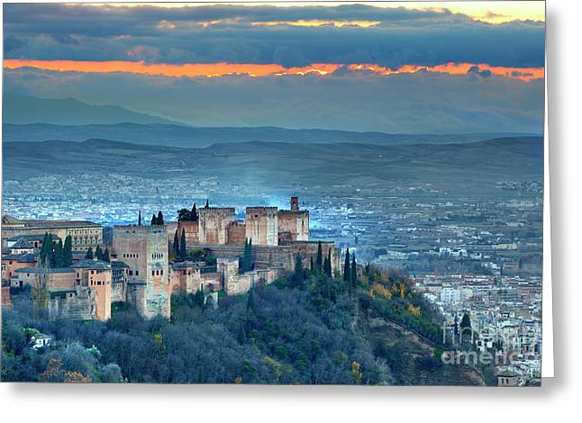 The Alhambra And Granada. At Sunset  Greeting Card