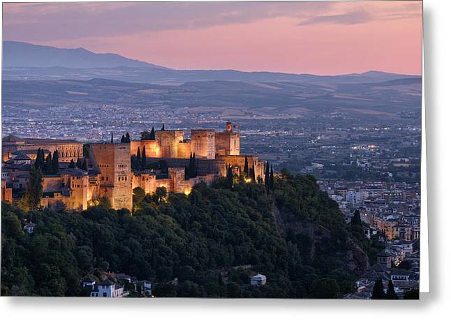 The Alhambra Palace. Night Lights Greeting Card