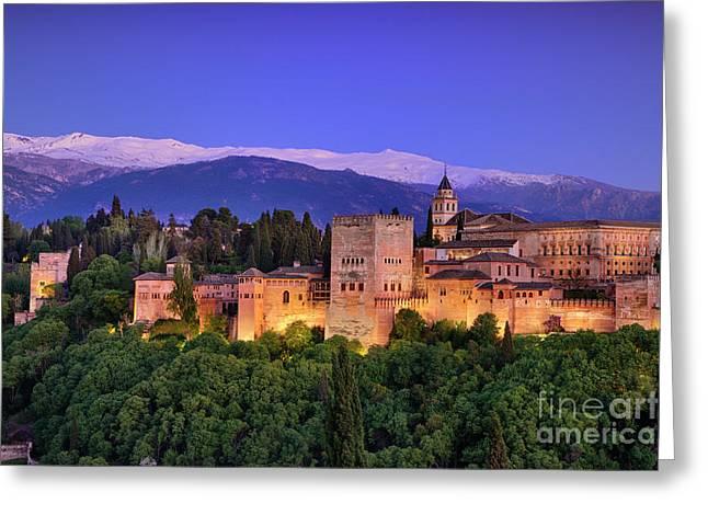 The Alhambra Palace, Sierra Nevada And Granada. Al Night Greeting Card