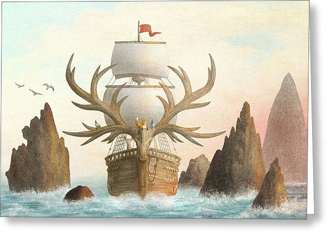The Antlered Ship Greeting Card
