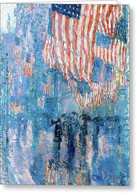 The Avenue In The Rain Frederick Childe Hassam - Digital Remastered Edition Greeting Card