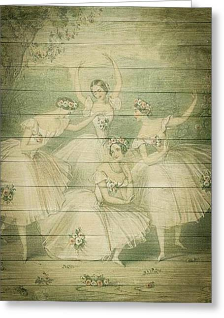 The Ballet Dancers Shabby Chic Vintage Style Portrait Greeting Card