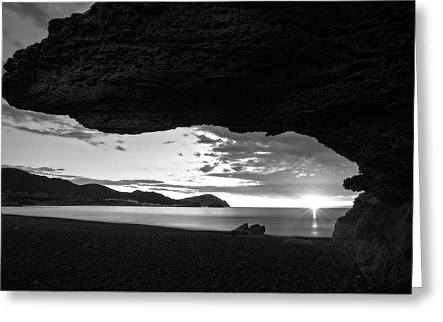 The Beach Of The Sculptures At Dawn In Almeria Greeting Card