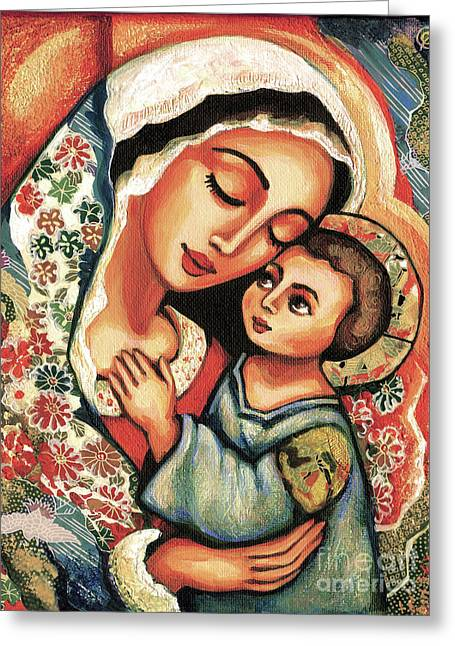 Greeting Card featuring the painting The Blessed Mother by Eva Campbell