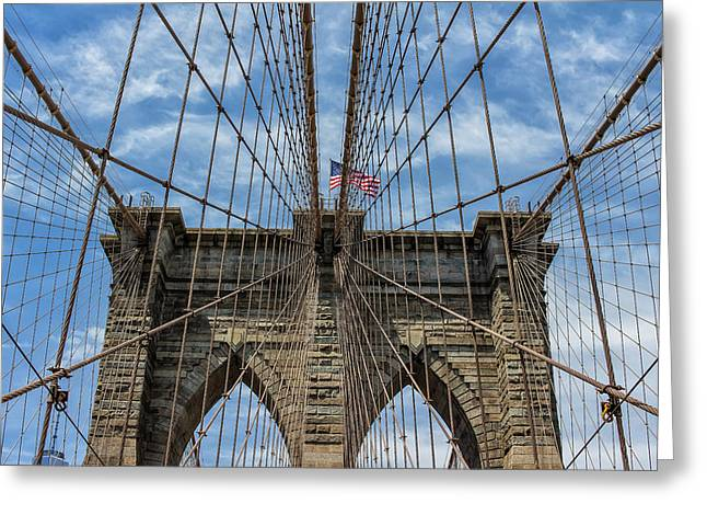 Greeting Card featuring the photograph The Brooklyn Bridge by Robert Bellomy