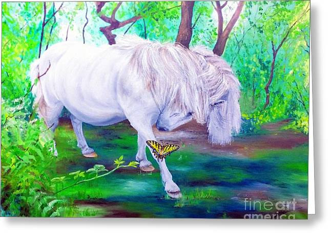 The Butterfly And The Pony Greeting Card by Abbie Shores