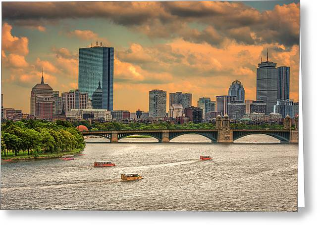 The Charles, Duck Boats And Boston's Back Bay Greeting Card