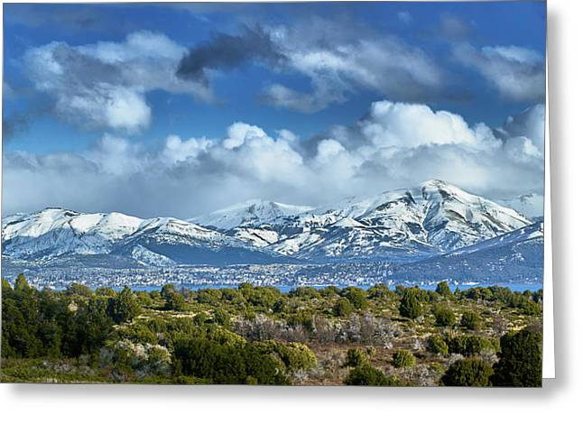 The City Of Bariloche And Landscape Of Snowy Mountains In The Argentine Patagonia Greeting Card