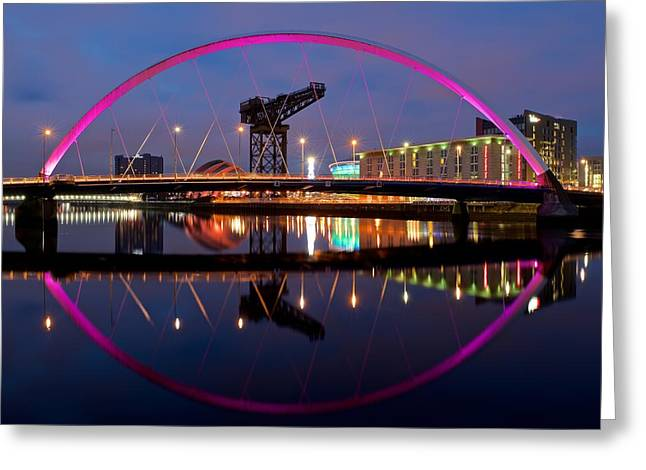Greeting Card featuring the photograph The Clyde Arc Reflected by Stephen Taylor