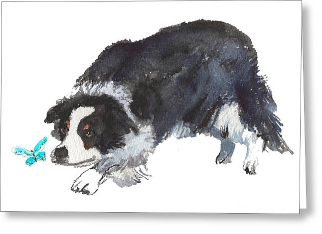 The Collie And Blue Butterfly Greeting Card