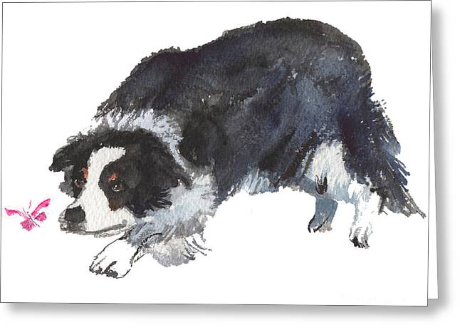 The Collie And Pink Butterfly Greeting Card