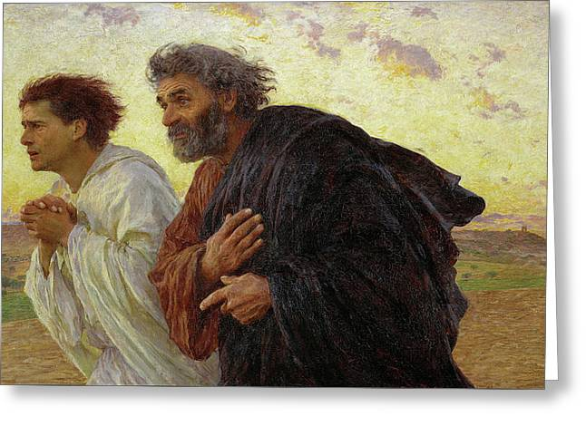 The Disciples Peter And John Running To The Tomb On The Morning Of The Resurrection, 1898 Greeting Card