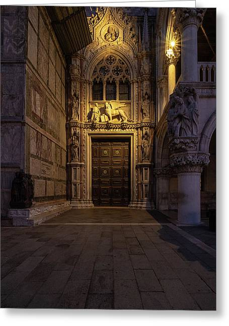 Greeting Card featuring the photograph The Doge's Door. by Tim Bryan