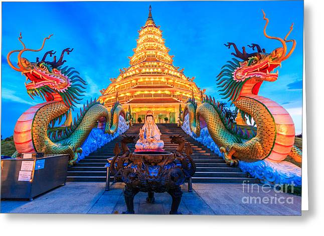 The Dragon In Temple Wat Hyua Pla Kang Greeting Card by Apiguide