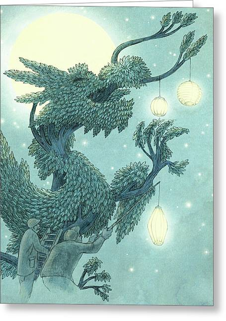The Dragon Tree - Night Greeting Card
