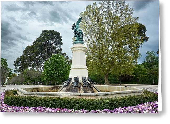 The Fountain Of The Fallen Angel In Madrid Greeting Card