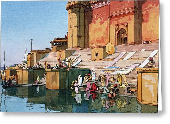 The Ghat At Varanasi - Digital Remastered Edition Greeting Card