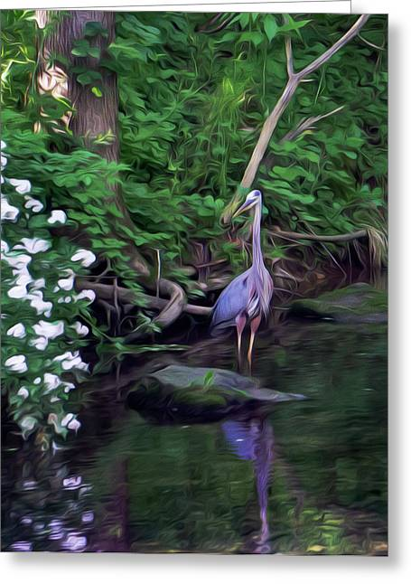 The Great Blue Heron - Impressionism Greeting Card