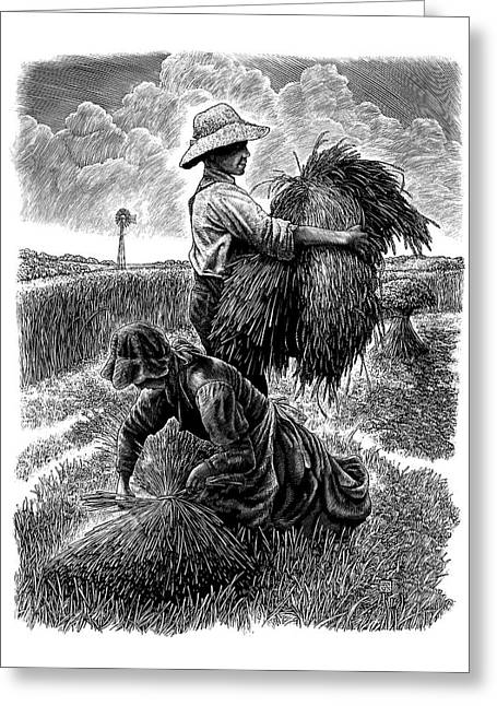 Greeting Card featuring the drawing The Harvesters - Bw by Clint Hansen