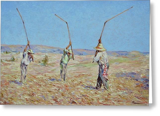 The Haymakers - Pierre Van Dijk 70x90cm Oil Greeting Card