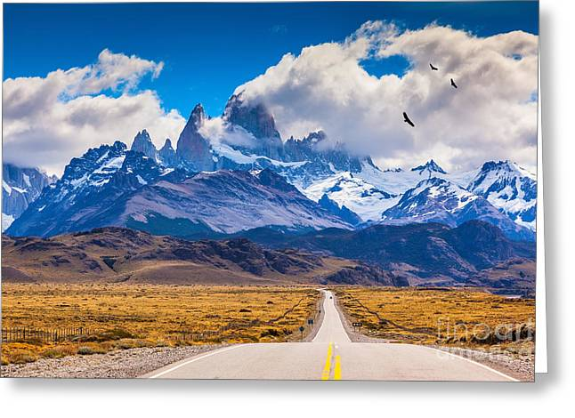 The Highway Crosses The Patagonia And Greeting Card