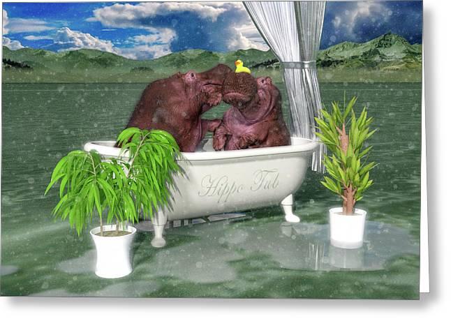 The Hippo Tub Greeting Card