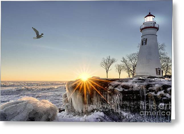 The Historic Marblehead Lighthouse In Greeting Card