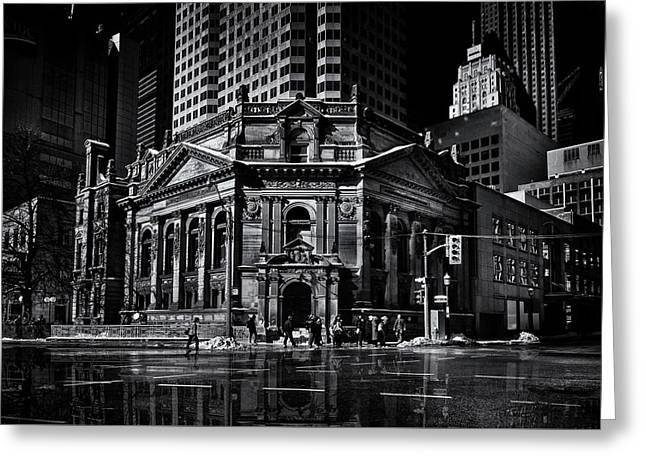 The Hockey Hall Of Fame Toronto Canada Reflection Greeting Card by Brian Carson