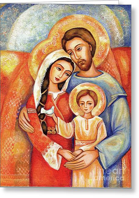 Greeting Card featuring the painting The Holy Family by Eva Campbell