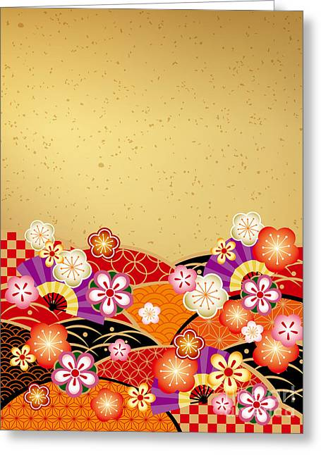 The Japanese Style Background Of The Greeting Card