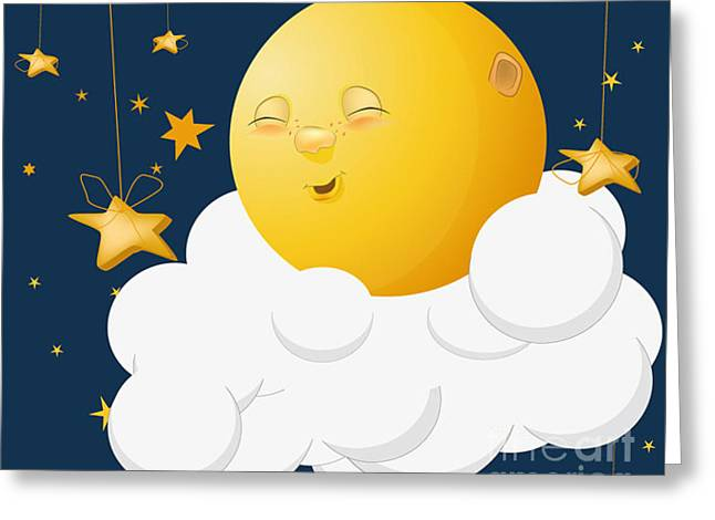 The Kind Moon On A Cloud Greeting Card