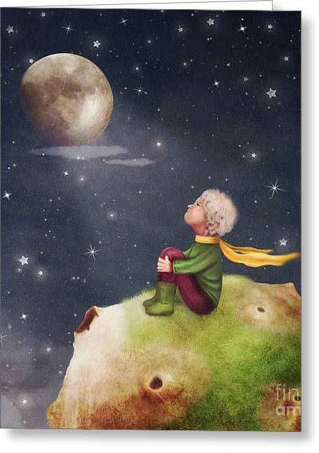 The Little Prince With A Rose On A Greeting Card