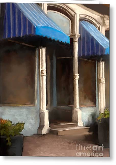 Greeting Card featuring the digital art The M Cafe by Dwayne Glapion