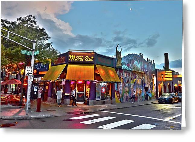 The Middle East In Cambridge Central Square Dusk Greeting Card