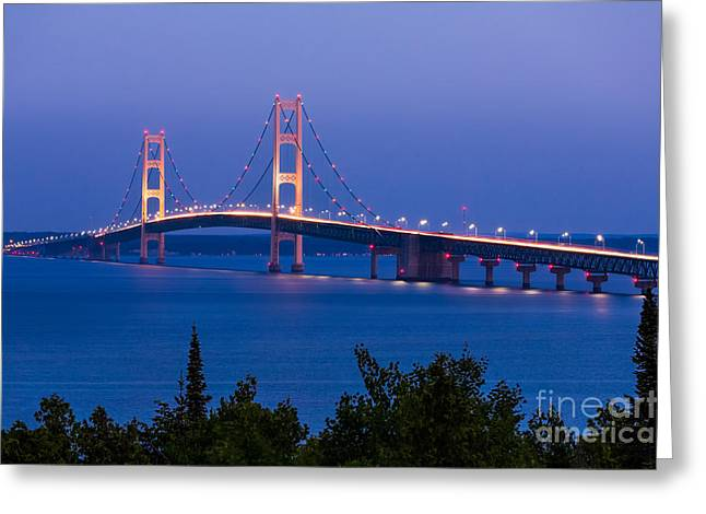 The Mighty Mackinac Bridge, Connecting Greeting Card