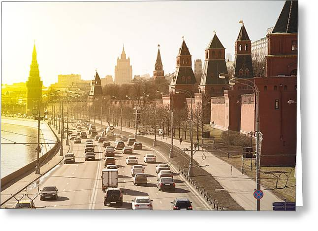 The Moscow Kremlin And Road Traffic Greeting Card