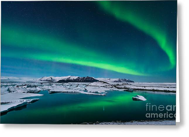 The Northern Lights Dance Over The Greeting Card