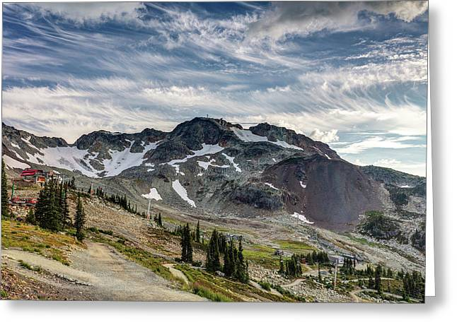 Greeting Card featuring the photograph The Peak Of Whistler Mountain With Amazing Cloud Formations by Pierre Leclerc Photography