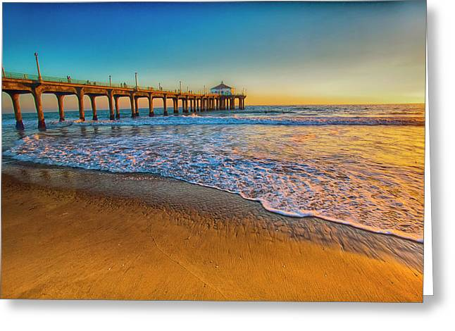 The Pier At Sunset Greeting Card by Fernando Margolles