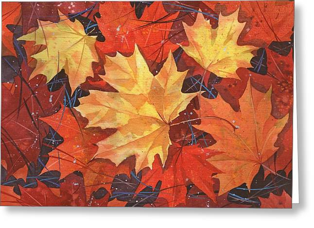 The Poem Of Autumn Leaves Greeting Card